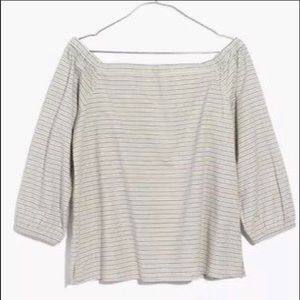 Madewell off the shoulder stripped top